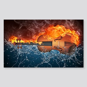 Fire and Water Violin Sticker (Rectangle)