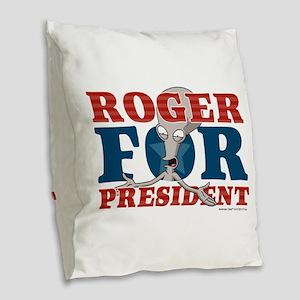 Roger for President Burlap Throw Pillow