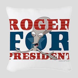 Roger for President Woven Throw Pillow