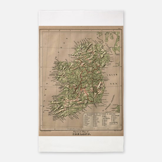 Vintage Physical Map of Ireland (1880) Area Rug