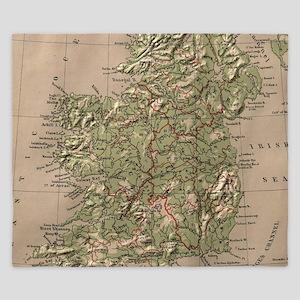 Vintage Physical Map of Ireland (1880) King Duvet