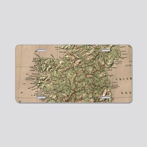 Vintage Physical Map of Ire Aluminum License Plate