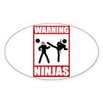 Warning: Ninjas Oval Sticker