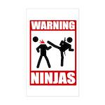 Warning: Ninjas Rectangle Sticker
