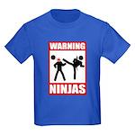 Warning: Ninjas Kids Dark T-Shirt