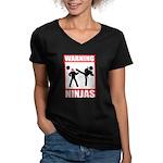 Warning: Ninjas Women's V-Neck Dark T-Shirt