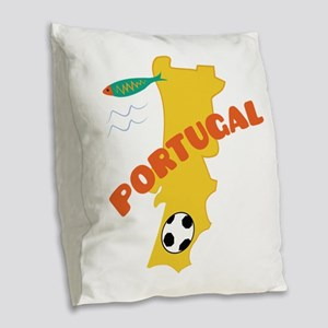Portugal Burlap Throw Pillow