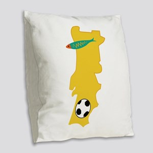 Portugal Map Burlap Throw Pillow