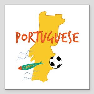"Portuguese Square Car Magnet 3"" x 3"""