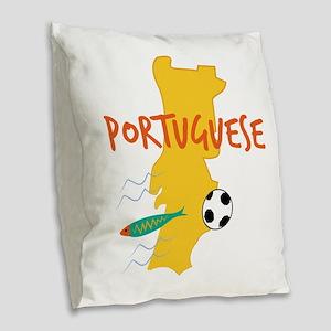 Portuguese Burlap Throw Pillow