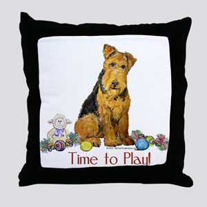 Welsh Terrier Playtime! Throw Pillow