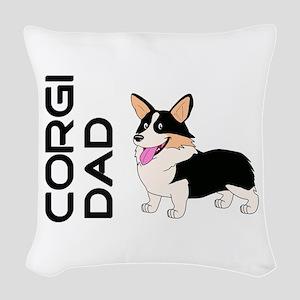 Corgi Dad Woven Throw Pillow