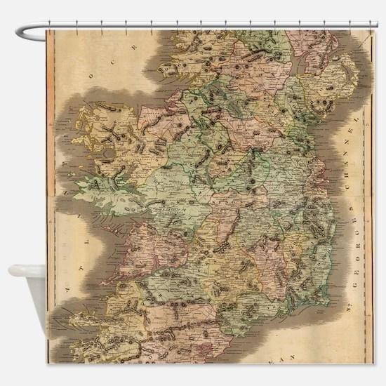Vintage Map of Ireland (1831) Shower Curtain
