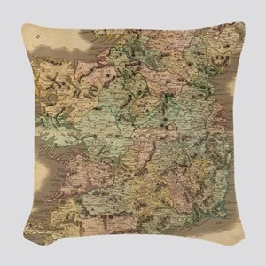 Vintage Map of Ireland (1831) Woven Throw Pillow
