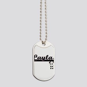 Layla Classic Retro Name Design with Pand Dog Tags