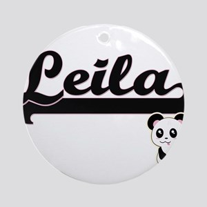 Leila Classic Retro Name Design w Ornament (Round)