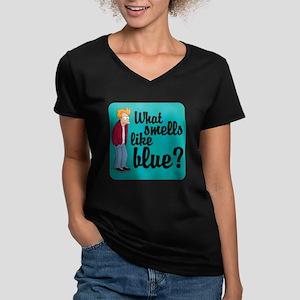 Fry Blue Women's V-Neck Dark T-Shirt