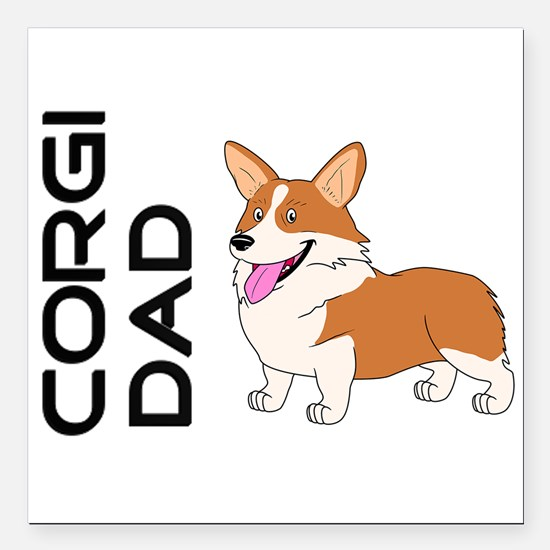 "Red and white Corgi Dad Square Car Magnet 3"" x 3"""