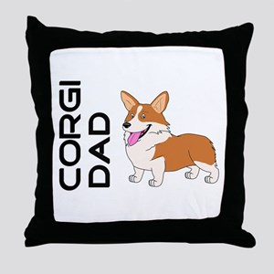 Red and white Corgi Dad Throw Pillow