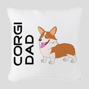 Red and white Corgi Dad Woven Throw Pillow