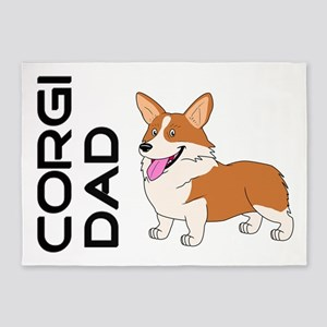 Red and white Corgi Dad 5'x7'Area Rug