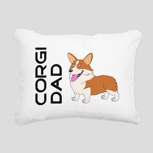 Red and white Corgi Dad Rectangular Canvas Pillow