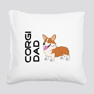 Red and white Corgi Dad Square Canvas Pillow