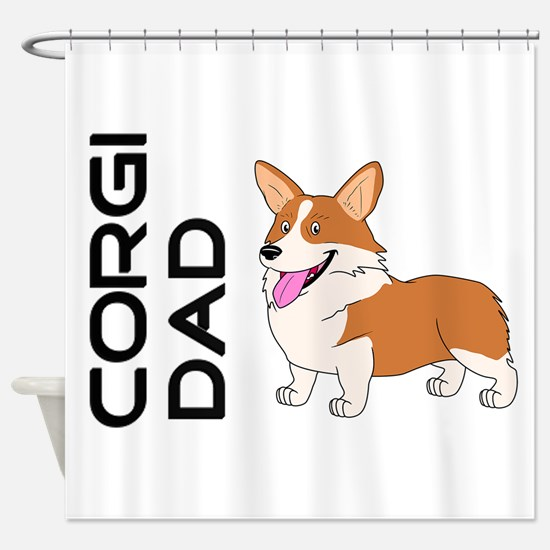 Red and white Corgi Dad Shower Curtain
