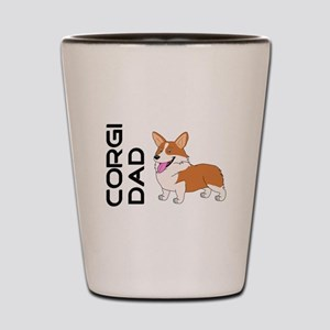 Red and white Corgi Dad Shot Glass