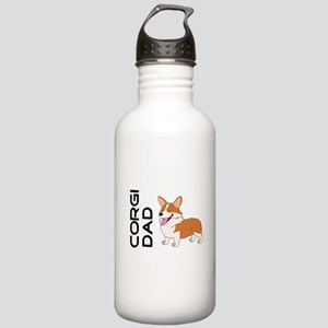 Red and white Corgi Dad Water Bottle