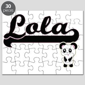 Lola Classic Retro Name Design with Panda Puzzle