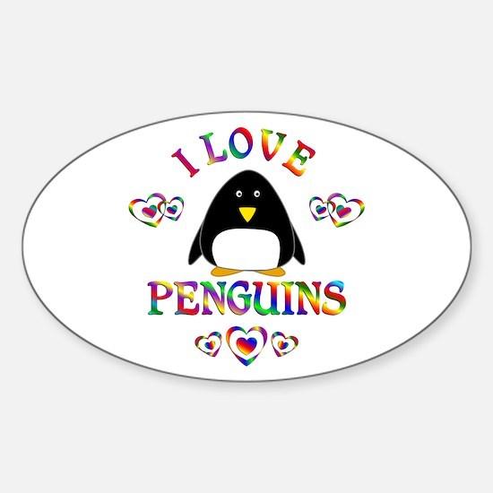 I Love Penguins Sticker (Oval)