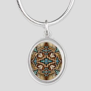 Native American Style Mandala Silver Oval Necklace