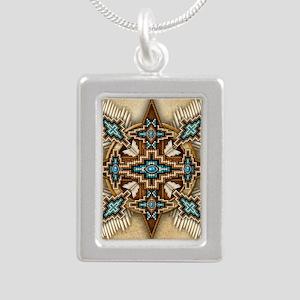 Native American Style Ma Silver Portrait Necklace