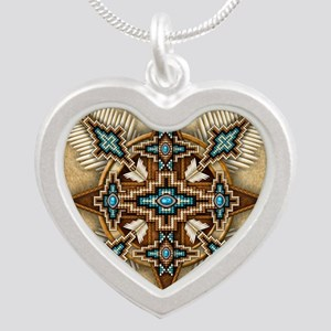 Native American Style Mandal Silver Heart Necklace