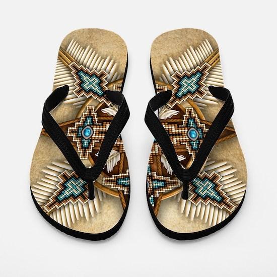 Native American Style Mandala 26 Flip Flops