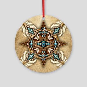 Native American Style Mandala 26 Round Ornament