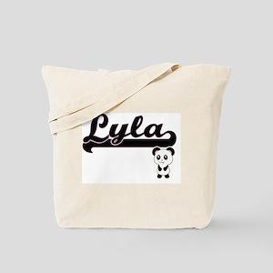 Lyla Classic Retro Name Design with Panda Tote Bag