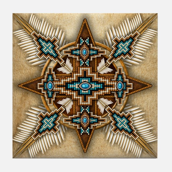 Native American Style Mandala 26 Tile Coaster