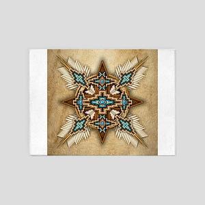 Native American Style Mandala 26 5'x7'Area Rug