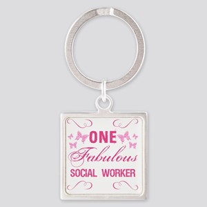 One Fabulous Social Worker Square Keychain