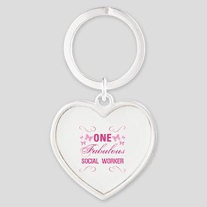 One Fabulous Social Worker Heart Keychain