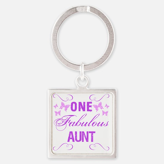One Fabulous Aunt Square Keychain