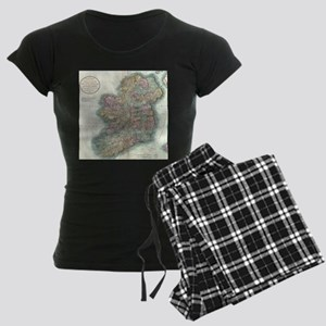 Vintage Map of Ireland (1799 Women's Dark Pajamas