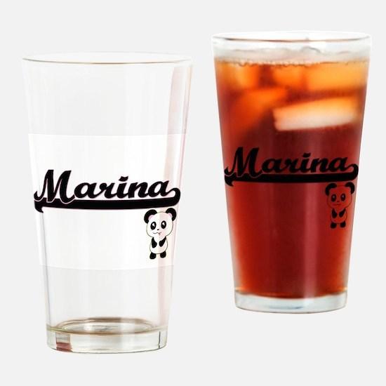 Marina Classic Retro Name Design wi Drinking Glass