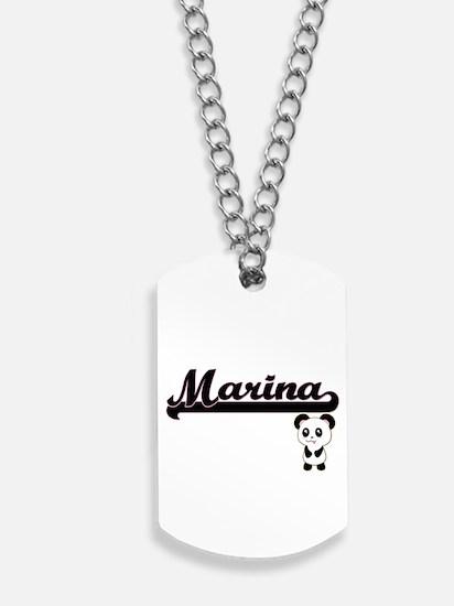 Marina Classic Retro Name Design with Pan Dog Tags