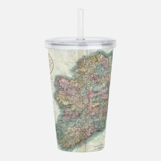 Vintage Map of Ireland Acrylic Double-wall Tumbler