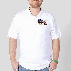 American Flag and Eagle Golf Shirt