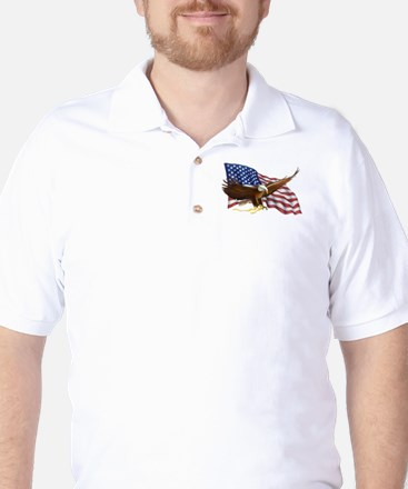 American Flag and Eagle Golf Shirt