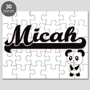 Micah Classic Retro Name Design with Panda Puzzle